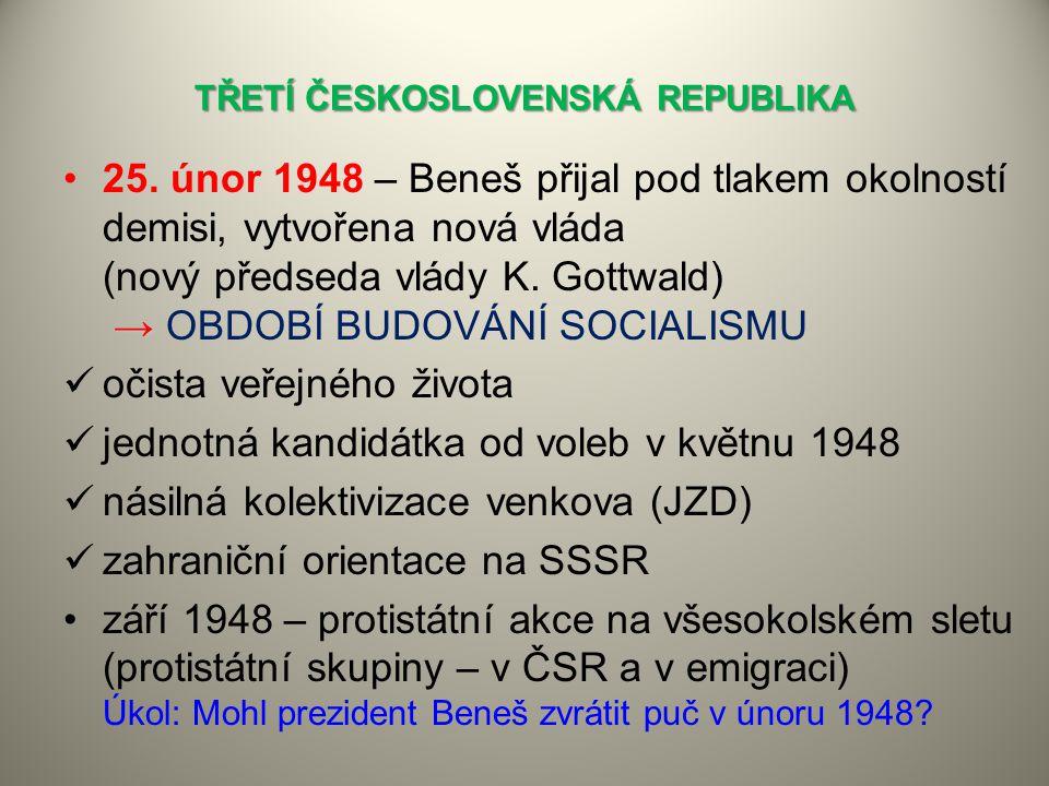TŘETÍ ČESKOSLOVENSKÁ REPUBLIKA →25. únor 1948 – Beneš přijal pod tlakem okolností demisi, vytvořena nová vláda (nový předseda vlády K. Gottwald) → OBD