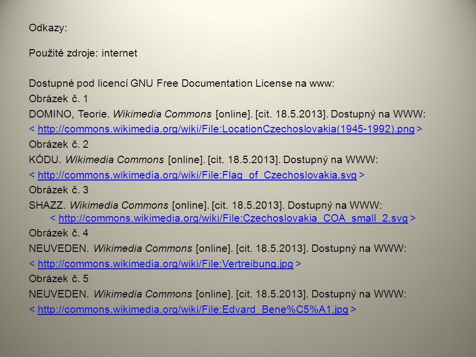 Odkazy: Použité zdroje: internet Dostupné pod licencí GNU Free Documentation License na www: Obrázek č. 1 DOMINO, Teorie. Wikimedia Commons [online].