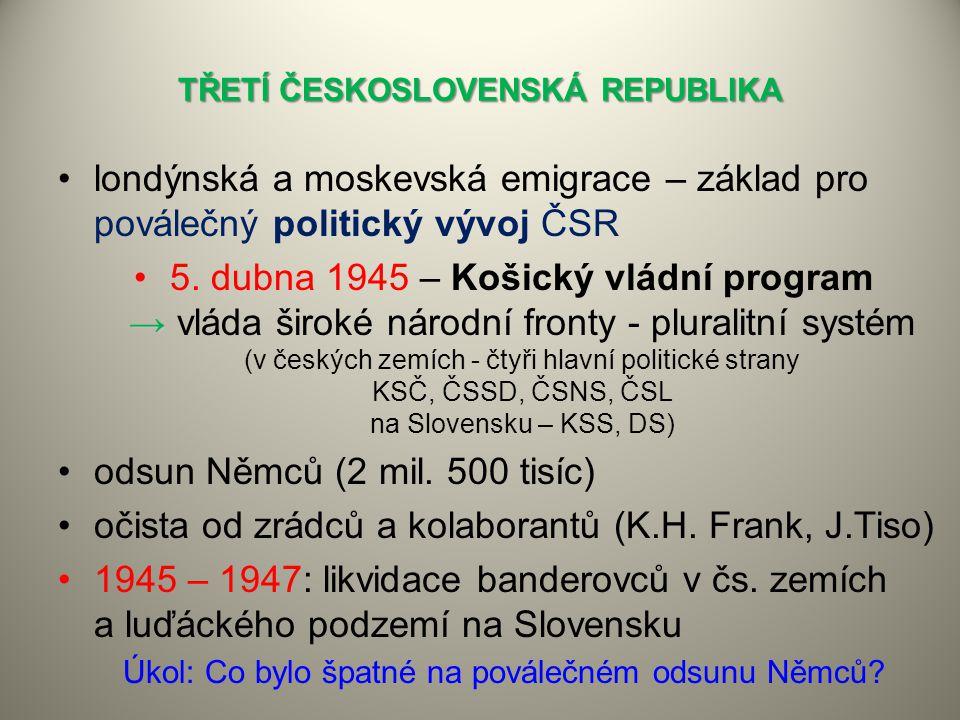 TŘETÍ ČESKOSLOVENSKÁ REPUBLIKA londýnská a moskevská emigrace – základ pro poválečný politický vývoj ČSR →5. dubna 1945 – Košický vládní program → vlá