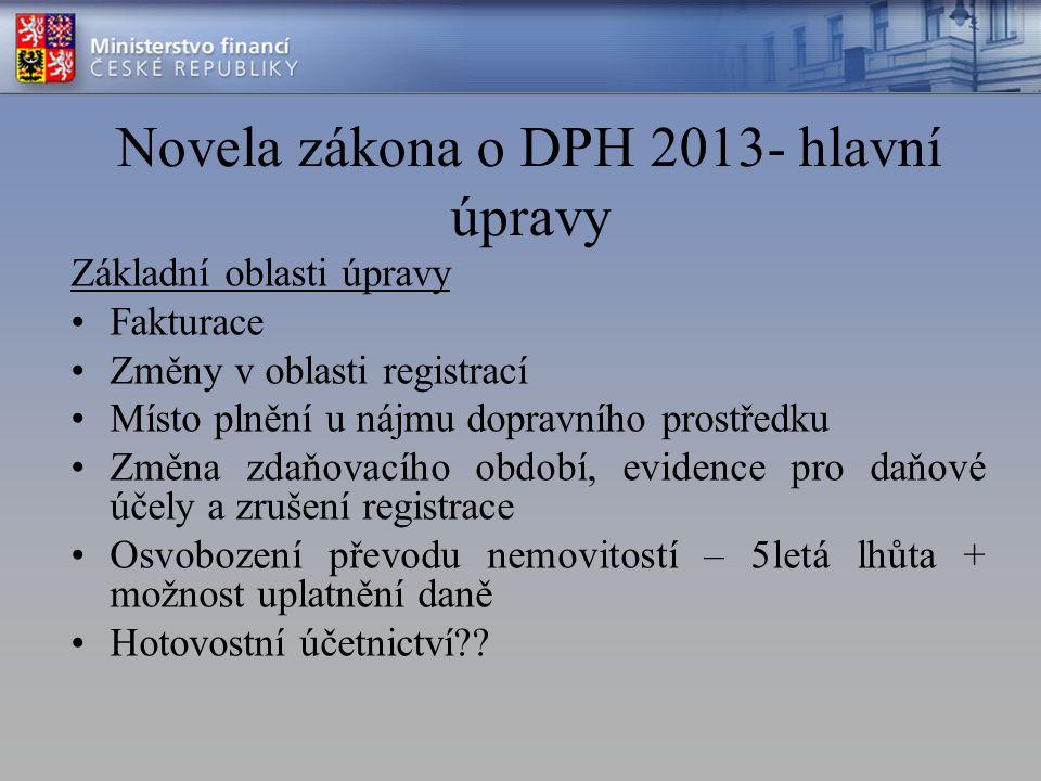 Novela zákona o DPH 2013- hlavní úpravy Základní oblasti úpravy Fakturace Změny v oblasti registrací Místo plnění u nájmu dopravního prostředku Změna