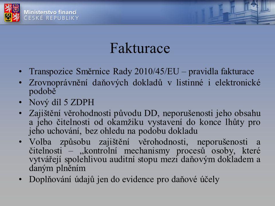 Fakturace Transpozice Směrnice Rady 2010/45/EU – pravidla fakturace Zrovnoprávnění daňových dokladů v listinné i elektronické podobě Nový díl 5 ZDPH Z