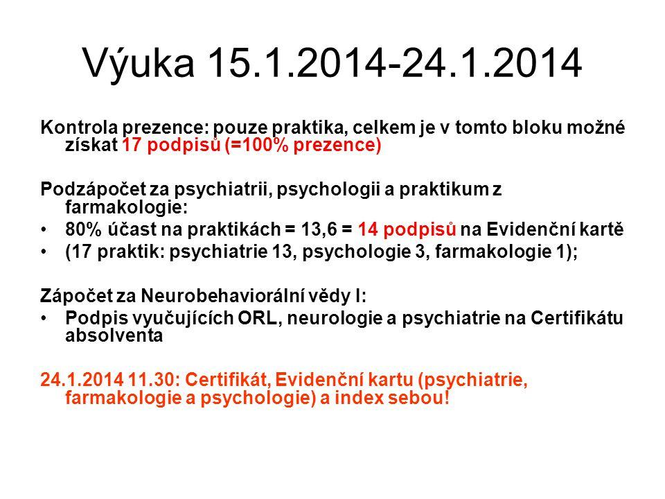 Pokyny k vyplnění Evidenční karty Podepište, že jste byli proškoleni v bezpečnosti práce: http://www.pcp.lf3.cuni.cz/pcpout/vyuka/dok umenty/bozp_po.pdf 17řádků = 17povinných výukových jednotek (psychiatrie, psychologie, farmakologie); kartu předložte vyučujícímu k podpisu po ukončení každé výukové jednotky (praktika)
