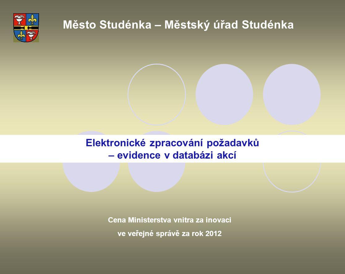 Elektronické zpracování požadavků – evidence v databázi akcí Město Studénka – Městský úřad Studénka Cena Ministerstva vnitra za inovaci ve veřejné spr