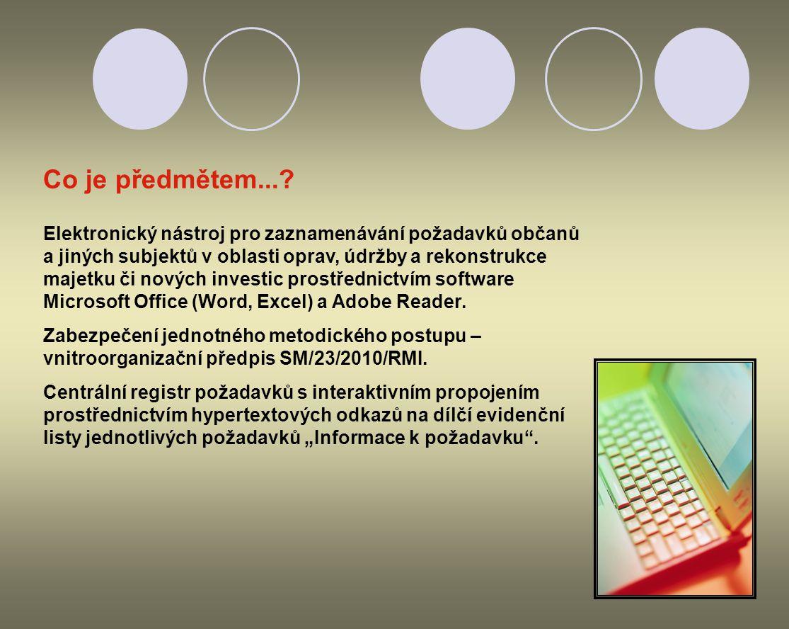 Elektronický nástroj pro zaznamenávání požadavků občanů a jiných subjektů v oblasti oprav, údržby a rekonstrukce majetku či nových investic prostředni