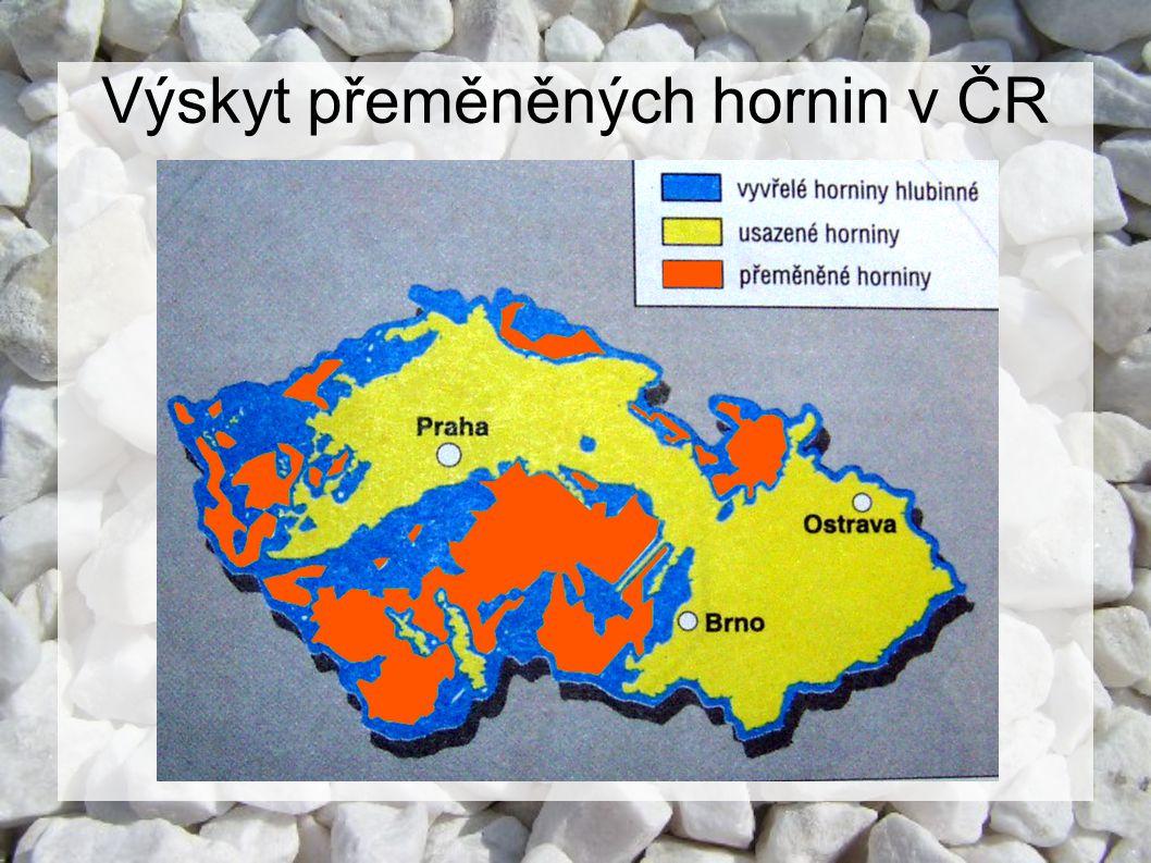 Výskyt přeměněných hornin v ČR