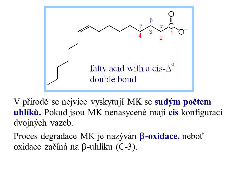 V přírodě se nejvíce vyskytují MK se sudým počtem uhlíků. Pokud jsou MK nenasycené mají cis konfiguraci dvojných vazeb. Proces degradace MK je nazýván