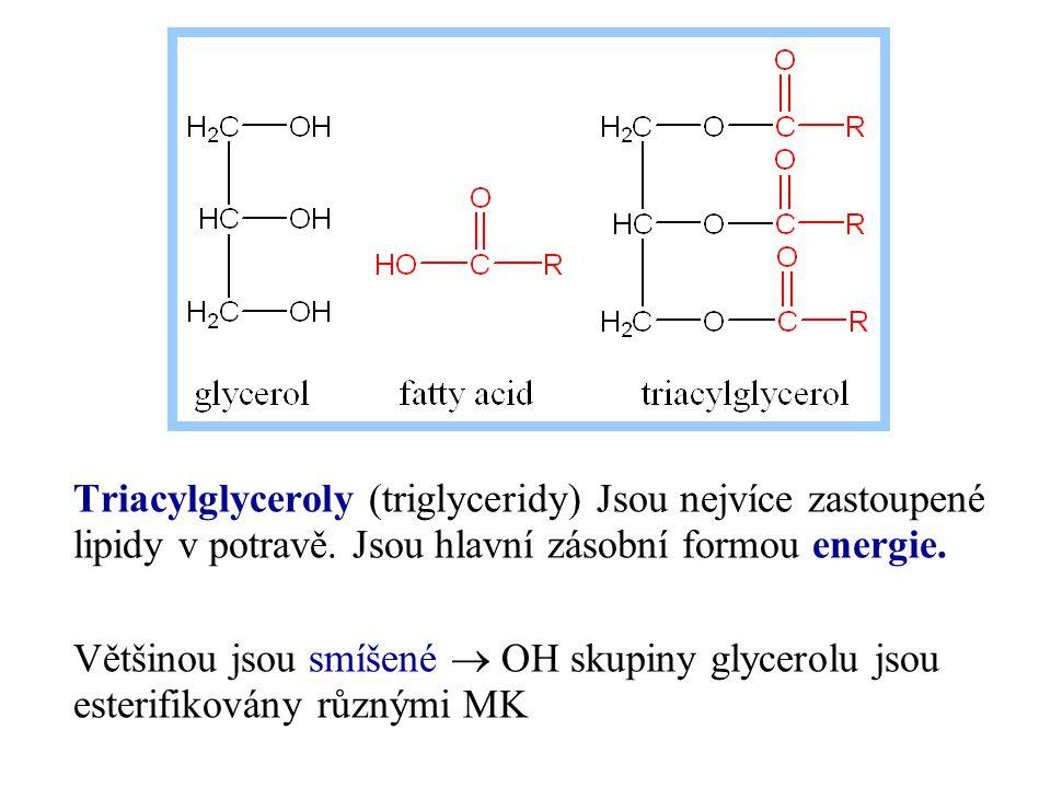 Triacylglyceroly (triglyceridy) Jsou nejvíce zastoupené lipidy v potravě. Jsou hlavní zásobní formou energie. Většinou jsou smíšené  OH skupiny glyce