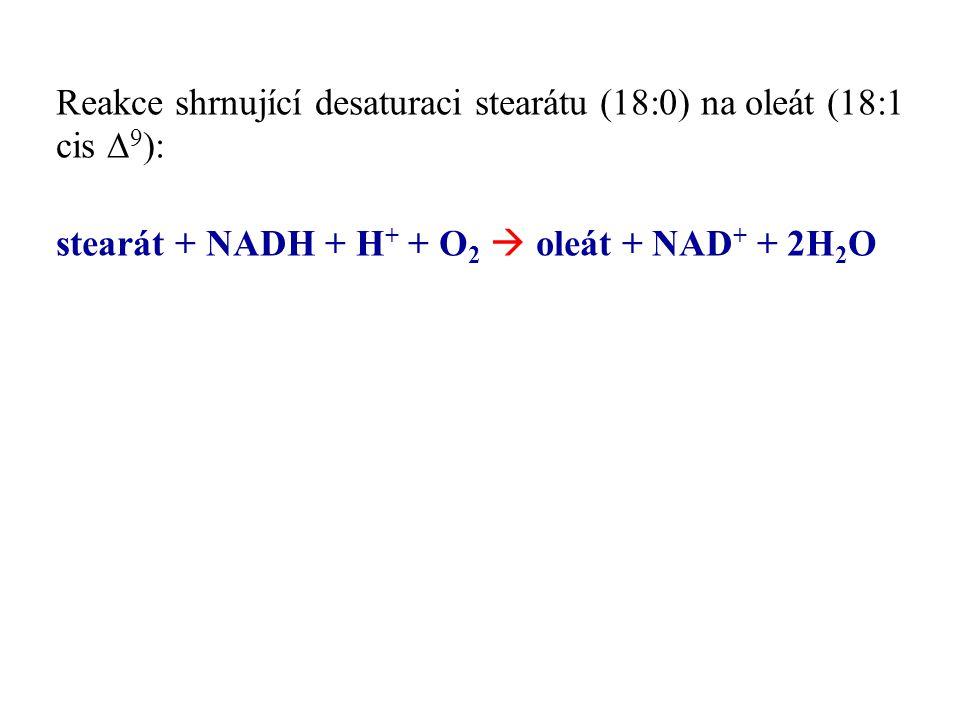Reakce shrnující desaturaci stearátu (18:0) na oleát (18:1 cis  9 ): stearát + NADH + H + + O 2  oleát + NAD + + 2H 2 O