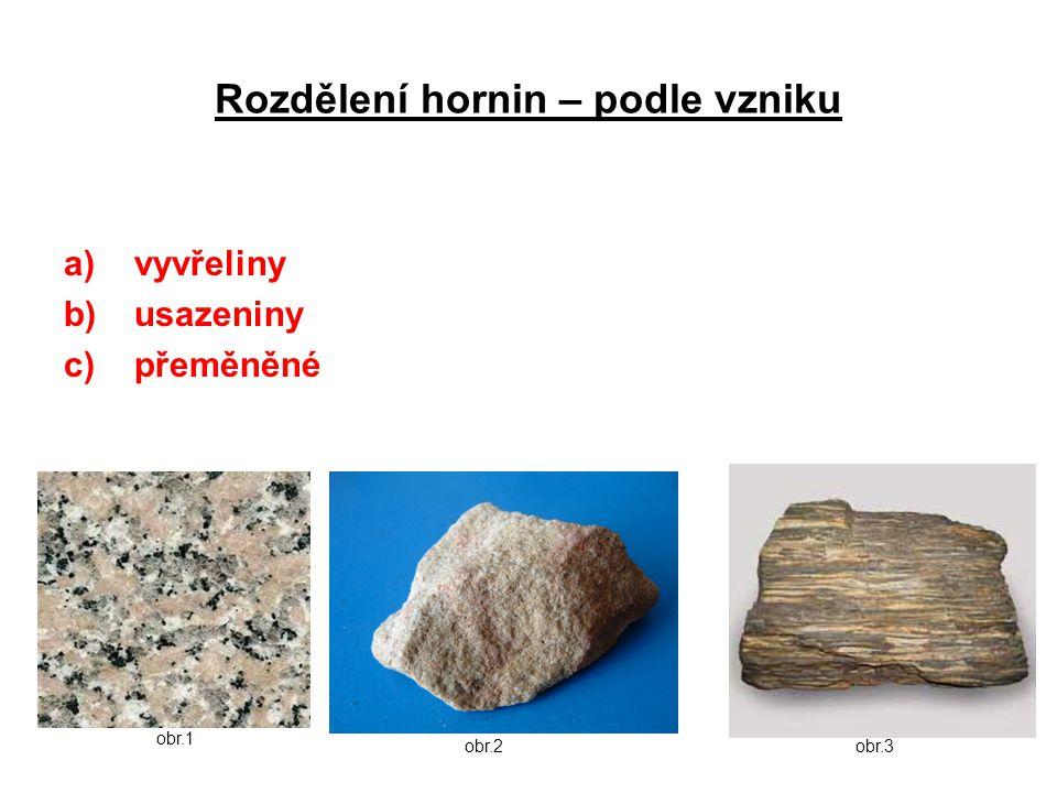 Vyvřelé horniny Vyvřelé horniny = vyvřeliny (magmatické horniny) Vznik: utuhnutím magmatu v hloubce Magma – roztavený horninový materiál Rozdělení vyvřelin: a)Hlubinné vyvřeliny – vznikly utuhnutím magmatu v hloubce b)Povrchové vyvřeliny = výlevné – vznikly utuhnutím magmatu (lávy) na povrchu