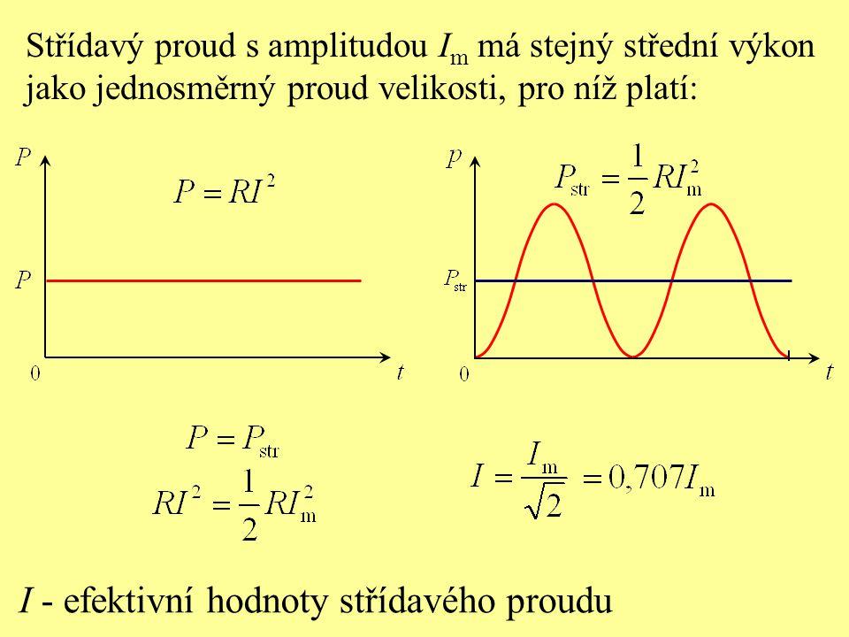 Střídavý proud s amplitudou I m má stejný střední výkon jako jednosměrný proud velikosti, pro níž platí: I - efektivní hodnoty střídavého proudu