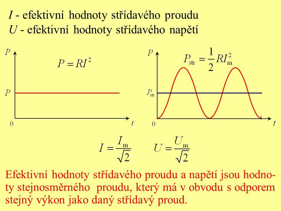 U - efektivní hodnoty střídavého napětí Efektivní hodnoty střídavého proudu a napětí jsou hodno- ty stejnosměrného proudu, který má v obvodu s odporem stejný výkon jako daný střídavý proud.