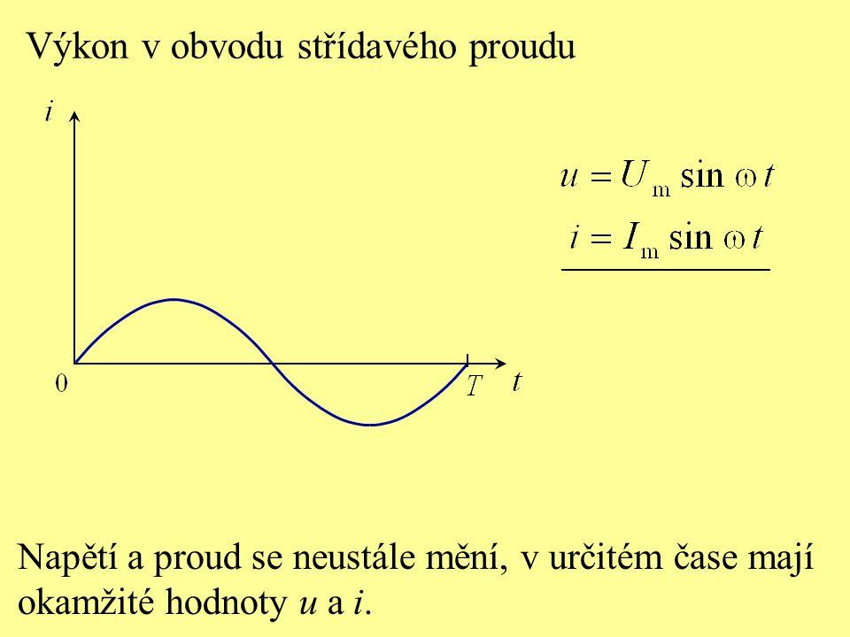 Výkon v obvodu střídavého proudu Napětí a proud se neustále mění, v určitém čase mají okamžité hodnoty u a i.