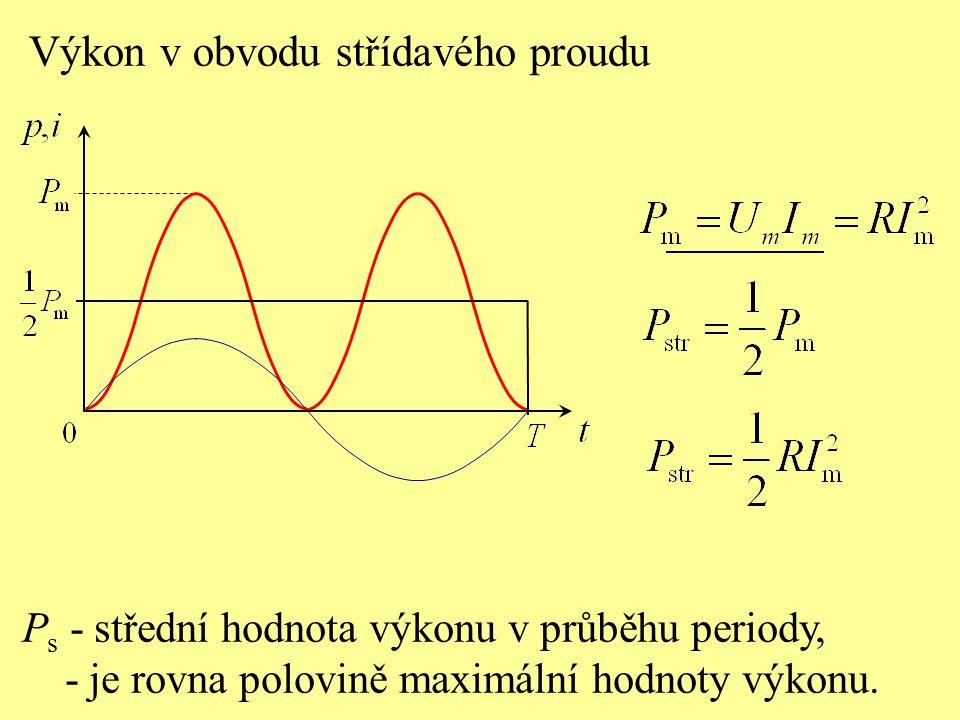 Práce střídavého proudu W Celková práce střídavého proudu za periodu T (energie, která se v rezistoru za periodu změní na teplo) je rovna obsahu plochy ohraničené grafem okamžitého výkonu.
