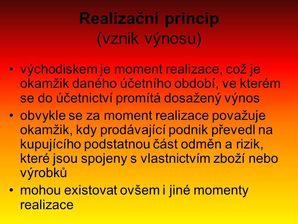 Realizační princip (vznik výnosu) východiskem je moment realizace, což je okamžik daného účetního období, ve kterém se do účetnictví promítá dosažený