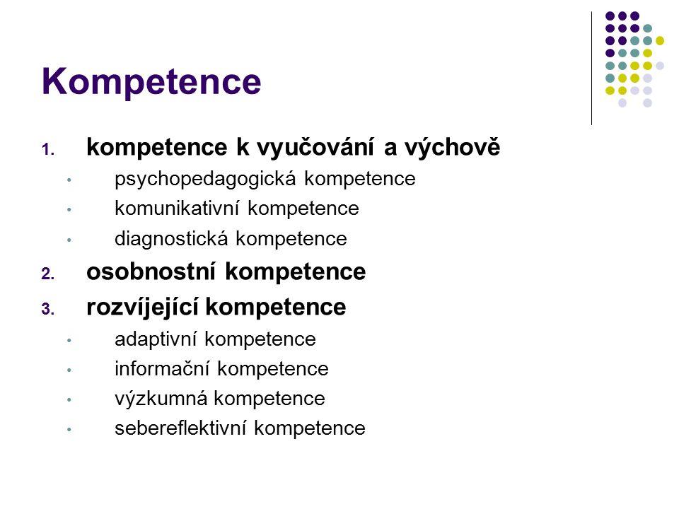 Kompetence 1. kompetence k vyučování a výchově psychopedagogická kompetence komunikativní kompetence diagnostická kompetence 2. osobnostní kompetence