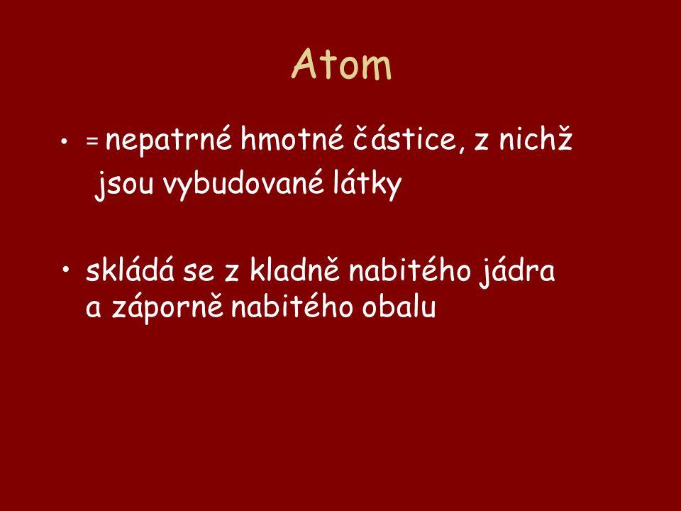Atom = nepatrné hmotné částice, z nichž jsou vybudované látky skládá se z kladně nabitého jádra a záporně nabitého obalu