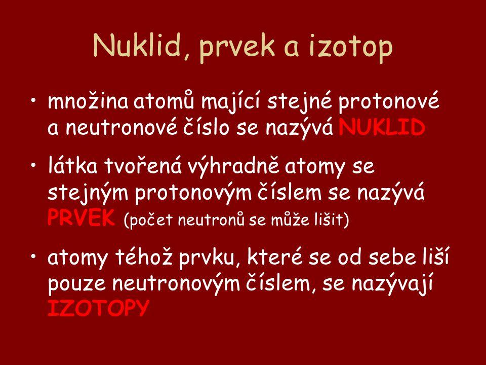 Nuklid, prvek a izotop množina atomů mající stejné protonové a neutronové číslo se nazývá NUKLID látka tvořená výhradně atomy se stejným protonovým čí
