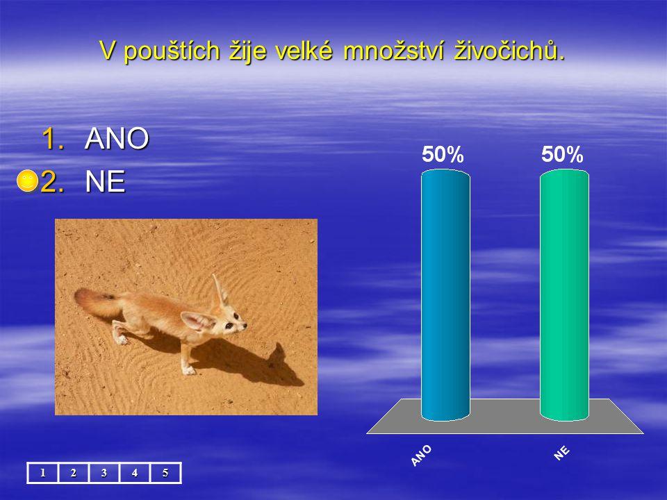 V pouštích žije velké množství živočichů. 12345 1.ANO 2.NE