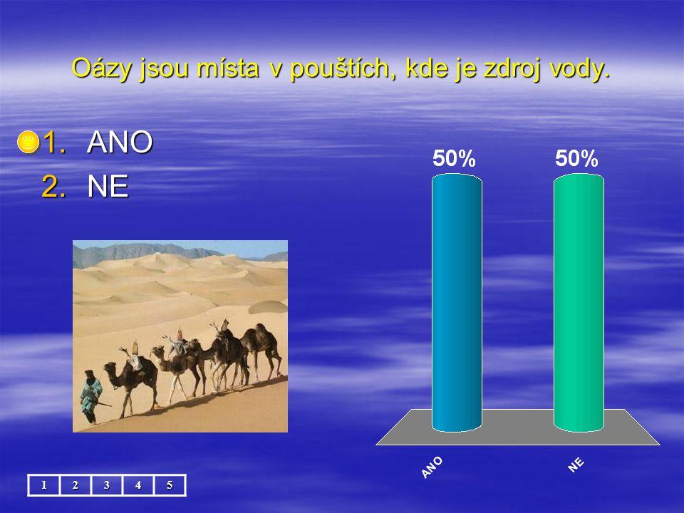 Oázy jsou místa v pouštích, kde je zdroj vody. 12345 1.ANO 2.NE