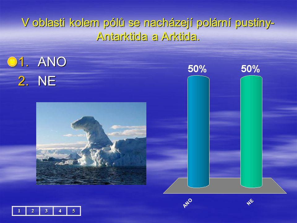 V oblasti kolem pólů se nacházejí polární pustiny- Antarktida a Arktida. 12345 1.ANO 2.NE