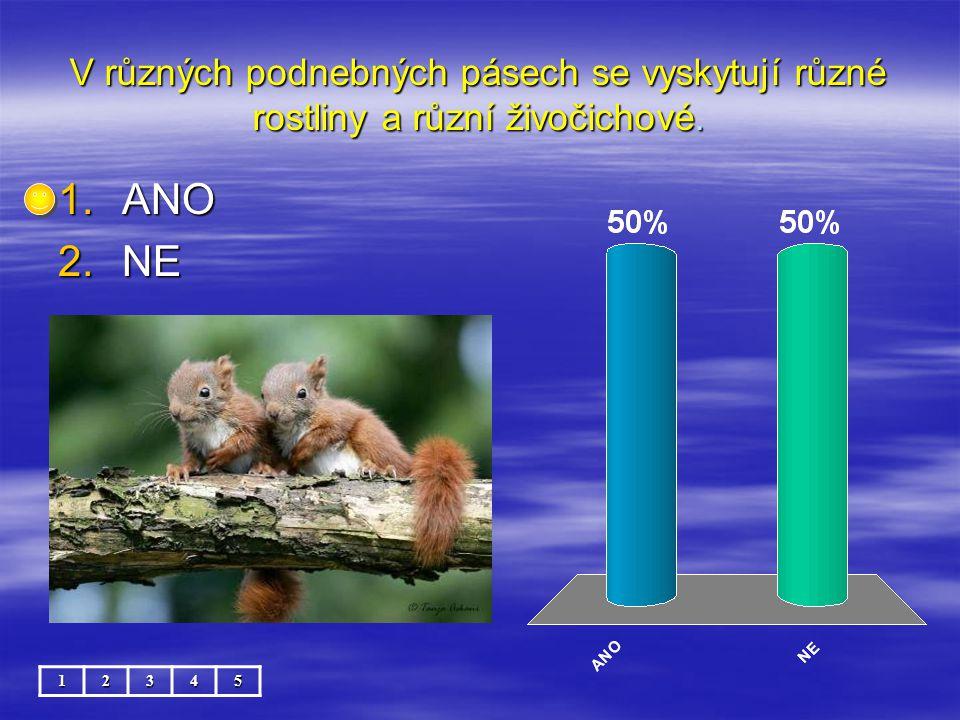 V různých podnebných pásech se vyskytují různé rostliny a různí živočichové. 12345 1.ANO 2.NE