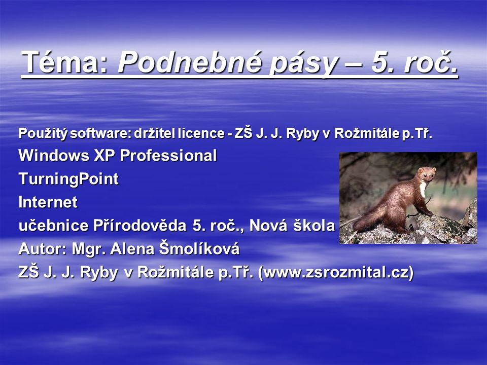 Téma: Podnebné pásy – 5. roč. Použitý software: držitel licence - ZŠ J. J. Ryby v Rožmitále p.Tř. Windows XP Professional TurningPointInternet učebnic