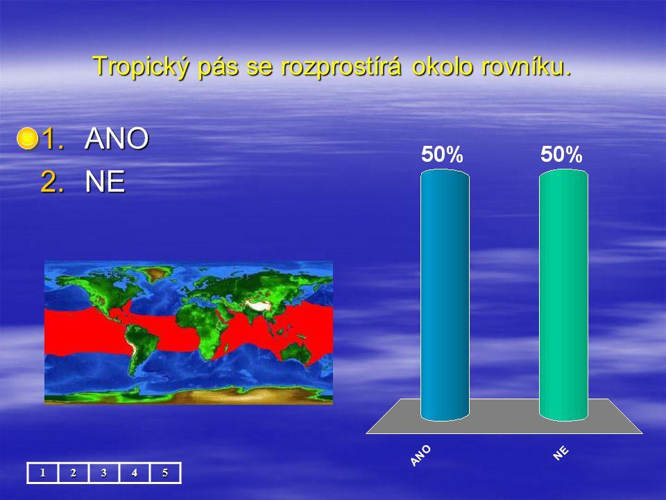 Tropický pás se rozprostírá okolo rovníku. 12345 1.ANO 2.NE