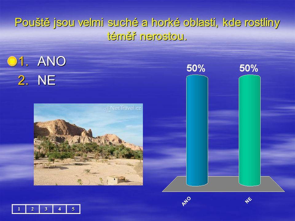 Pouště jsou velmi suché a horké oblasti, kde rostliny téměř nerostou. 12345 1.ANO 2.NE