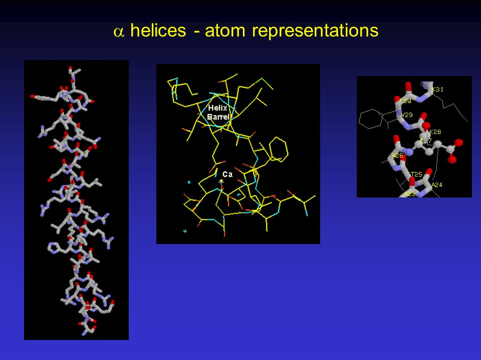  helices - atom representations