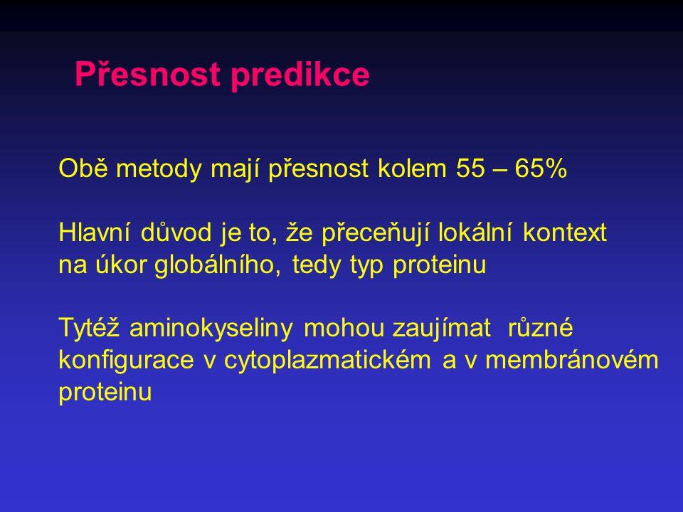 Přesnost predikce Obě metody mají přesnost kolem 55 – 65% Hlavní důvod je to, že přeceňují lokální kontext na úkor globálního, tedy typ proteinu Tytéž aminokyseliny mohou zaujímat různé konfigurace v cytoplazmatickém a v membránovém proteinu