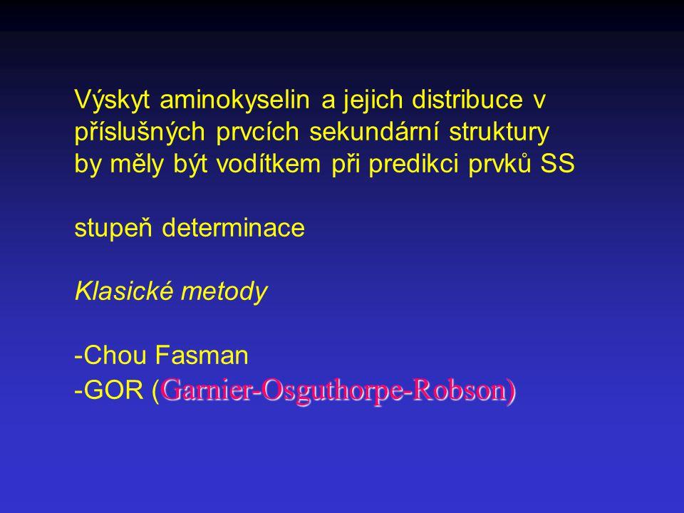 Výskyt aminokyselin a jejich distribuce v příslušných prvcích sekundární struktury by měly být vodítkem při predikci prvků SS stupeň determinace Klasické metody -Chou Fasman Garnier-Osguthorpe-Robson) -GOR ( Garnier-Osguthorpe-Robson)