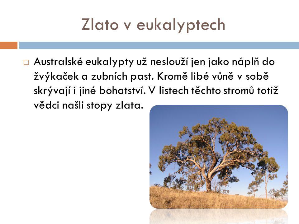 Množství zlata  Stopové množství zlata totiž jenom značí, že je stromy vstřebaly z půdy.