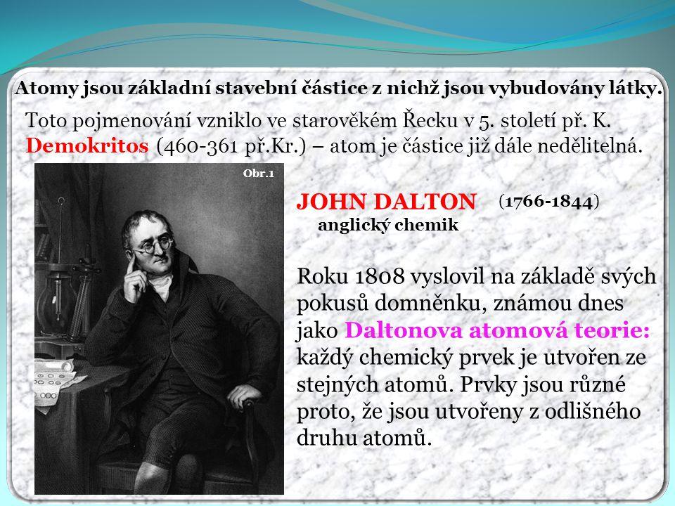 Atomy jsou základní stavební částice z nichž jsou vybudovány látky. Toto pojmenování vzniklo ve starověkém Řecku v 5. století př. K. Demokritos (460-3