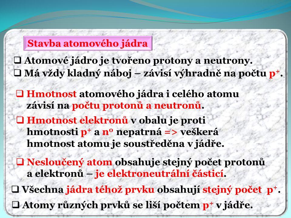 Stavba atomového jádra  Atomové jádro je tvořeno protony a neutrony.  Hmotnost atomového jádra i celého atomu závisí na počtu protonů a neutronů. 