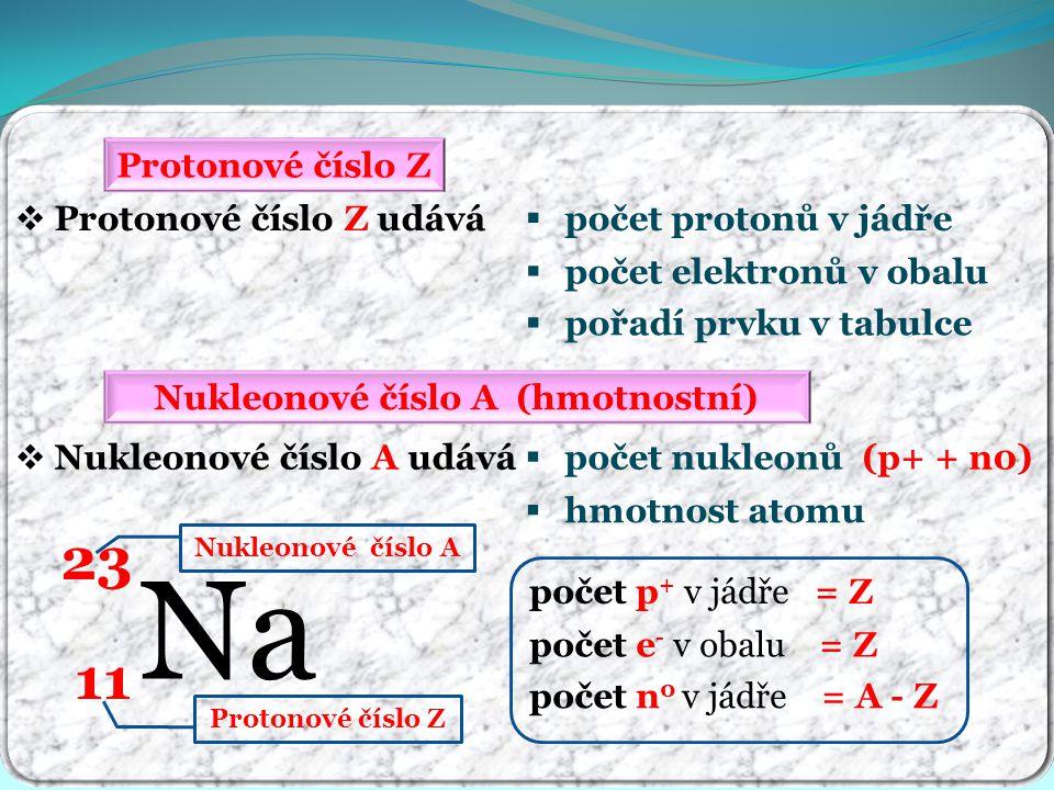 Protonové číslo Z  Protonové číslo Z udává  počet elektronů v obalu  počet protonů v jádře Nukleonové číslo A (hmotnostní)  Nukleonové číslo A udá