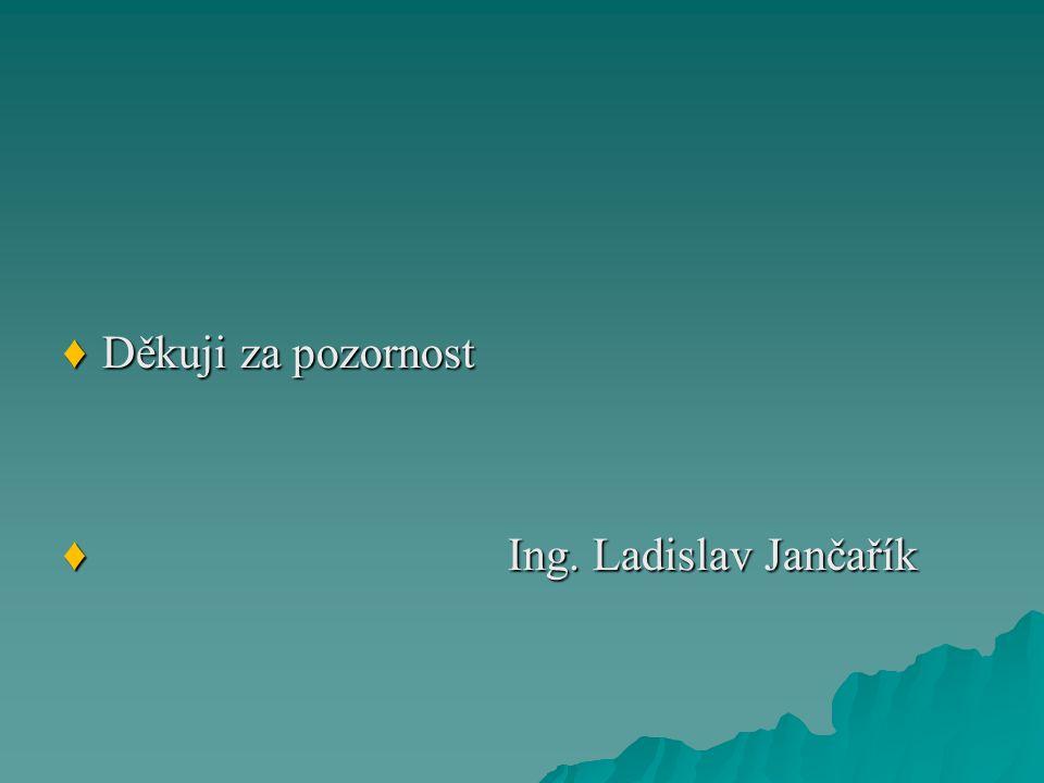 ♦Děkuji za pozornost ♦ Ing. Ladislav Jančařík