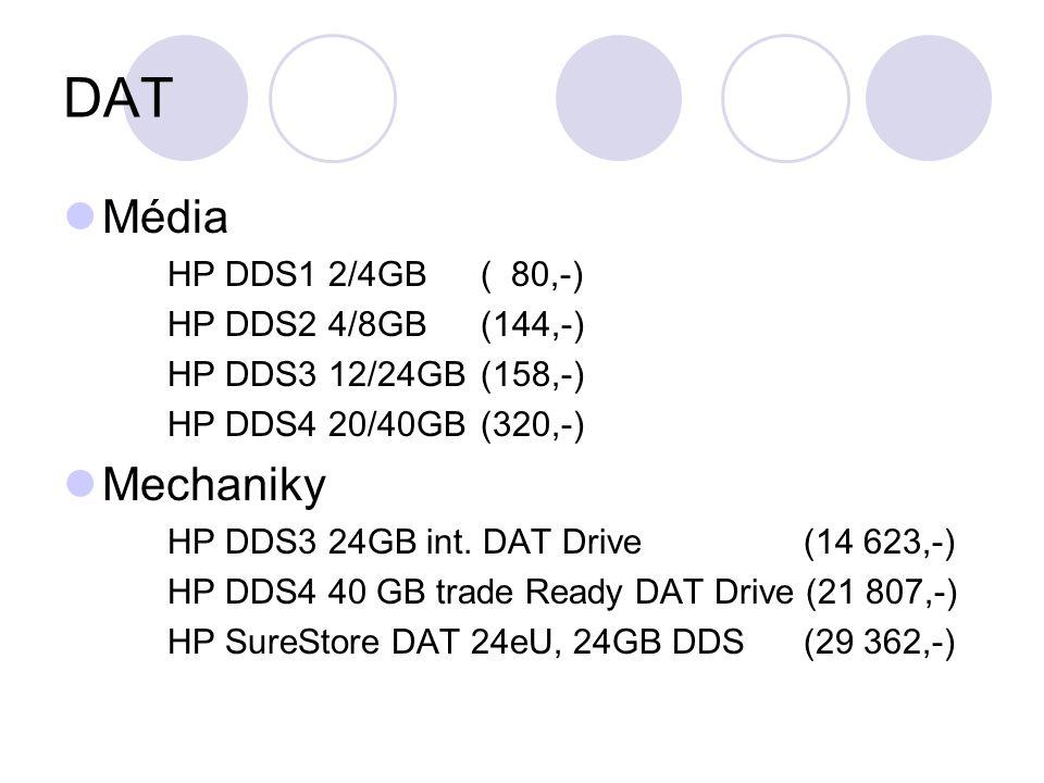 DAT Média HP DDS1 2/4GB( 80,-) HP DDS2 4/8GB(144,-) HP DDS3 12/24GB(158,-) HP DDS4 20/40GB(320,-) Mechaniky HP DDS3 24GB int.