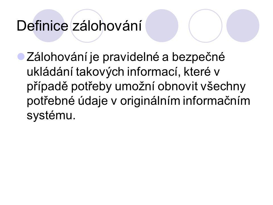 Definice zálohování Zálohování je pravidelné a bezpečné ukládání takových informací, které v případě potřeby umožní obnovit všechny potřebné údaje v originálním informačním systému.