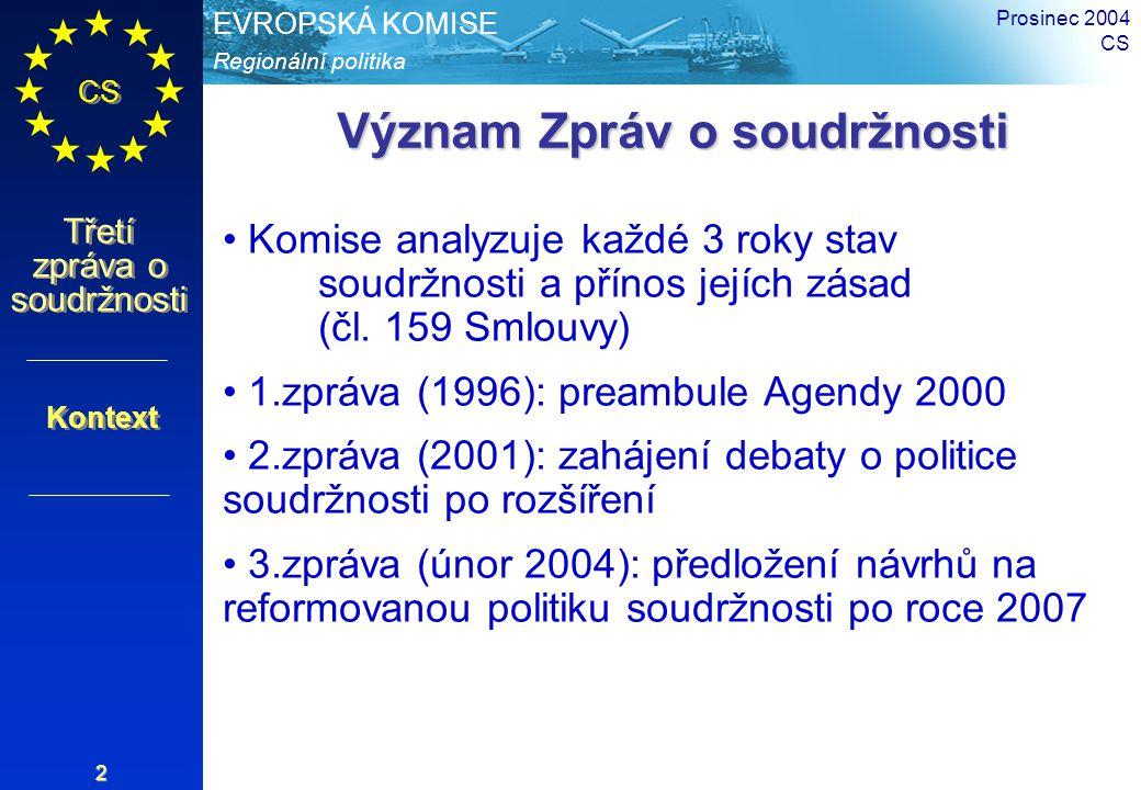 Regionální politika EVROPSKÁ KOMISE CS Třetí zpráva o soudržnosti Prosinec 2004 CS 2 Význam Zpráv o soudržnosti Komise analyzuje každé 3 roky stav sou