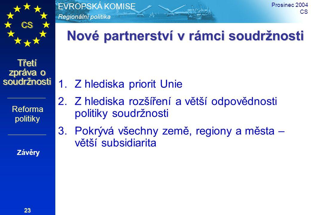 Regionální politika EVROPSKÁ KOMISE CS Třetí zpráva o soudržnosti Prosinec 2004 CS 23 Nové partnerství v rámci soudržnosti Nové partnerství v rámci so