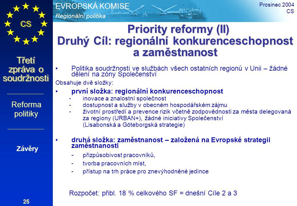 Regionální politika EVROPSKÁ KOMISE CS Třetí zpráva o soudržnosti Prosinec 2004 CS 25 Priority reformy (II) Druhý Cíl: regionální konkurenceschopnost