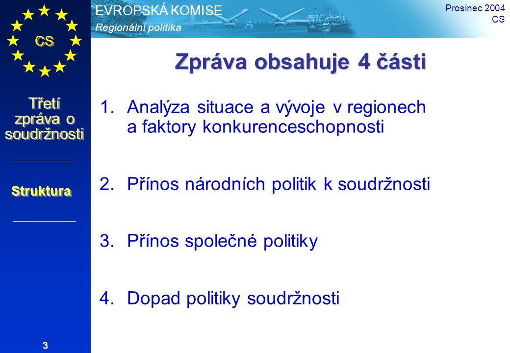 Regionální politika EVROPSKÁ KOMISE CS Třetí zpráva o soudržnosti Prosinec 2004 CS 3 Zpráva obsahuje 4 části 1.Analýza situace a vývoje v regionech a