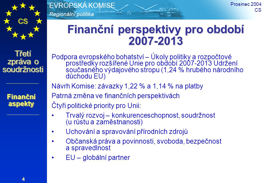 Regionální politika EVROPSKÁ KOMISE CS Třetí zpráva o soudržnosti Prosinec 2004 CS 4 Finanční perspektivy pro období 2007-2013 Podpora evropského boha