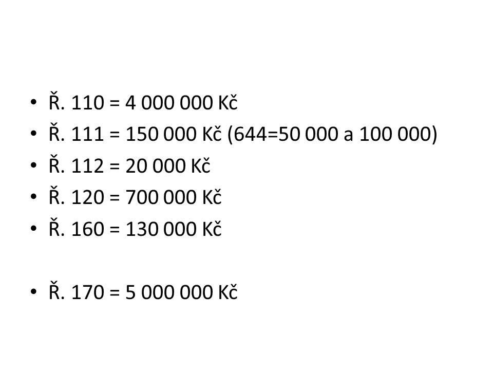 Ř. 110 = 4 000 000 Kč Ř. 111 = 150 000 Kč (644=50 000 a 100 000) Ř.