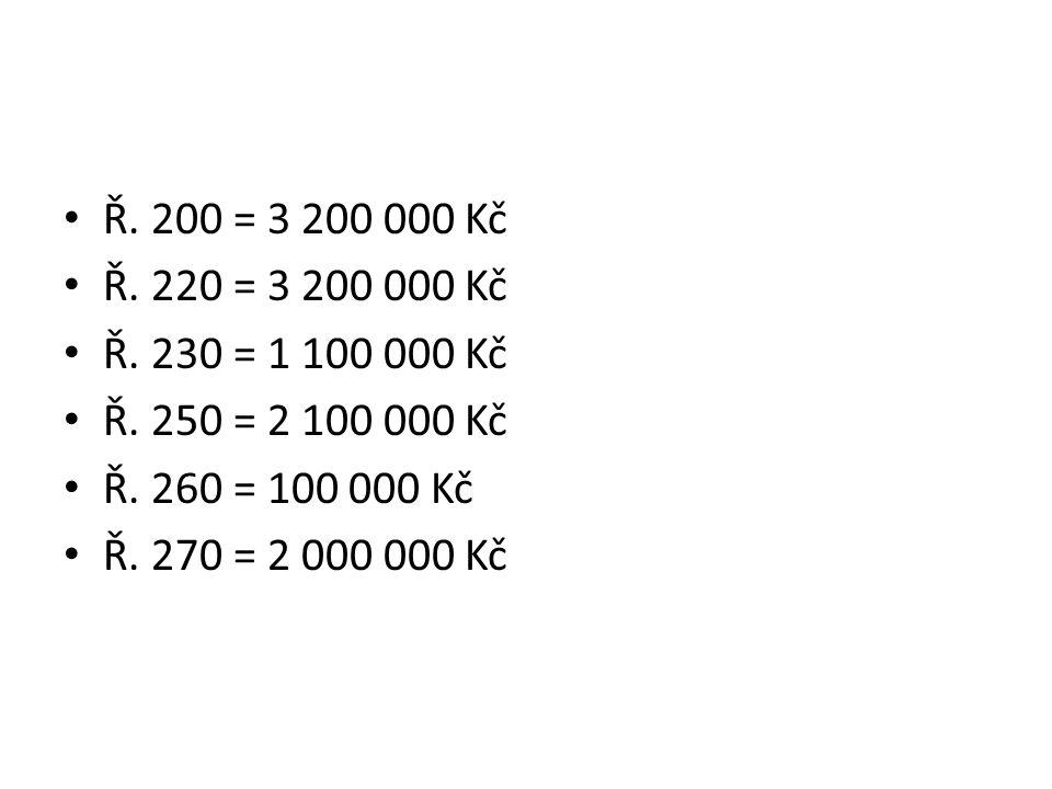 Ř. 200 = 3 200 000 Kč Ř. 220 = 3 200 000 Kč Ř. 230 = 1 100 000 Kč Ř.
