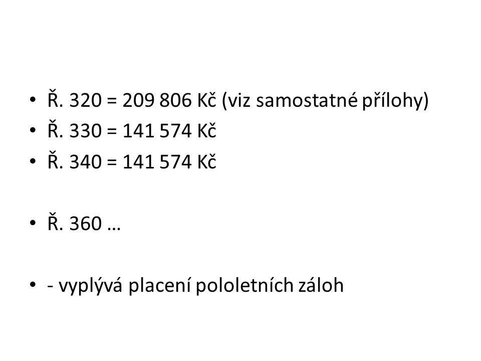 Ř. 320 = 209 806 Kč (viz samostatné přílohy) Ř. 330 = 141 574 Kč Ř.