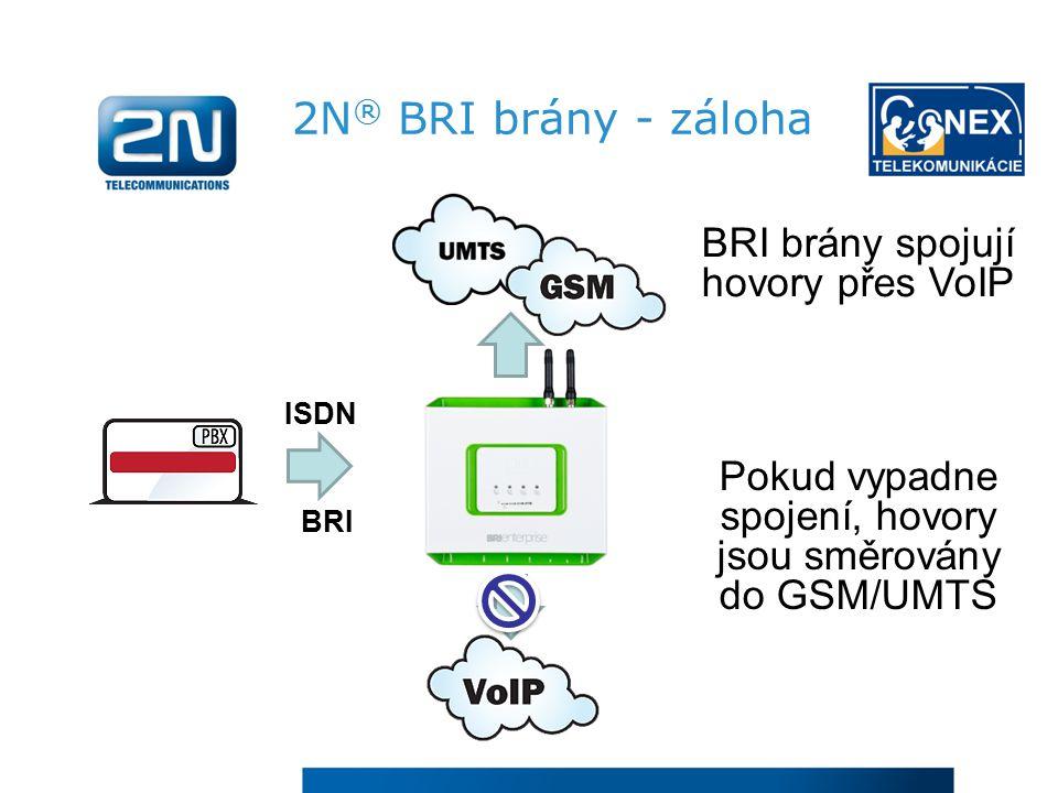 2N ® BRI brány - záloha Pokud vypadne spojení, hovory jsou směrovány do GSM/UMTS BRI brány spojují hovory přes VoIP ISDN BRI