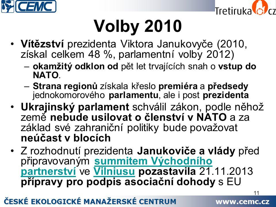 11 Volby 2010 Vítězství prezidenta Viktora Janukovyče (2010, získal celkem 48 %, parlamentní volby 2012) –okamžitý odklon od pět let trvajících snah o