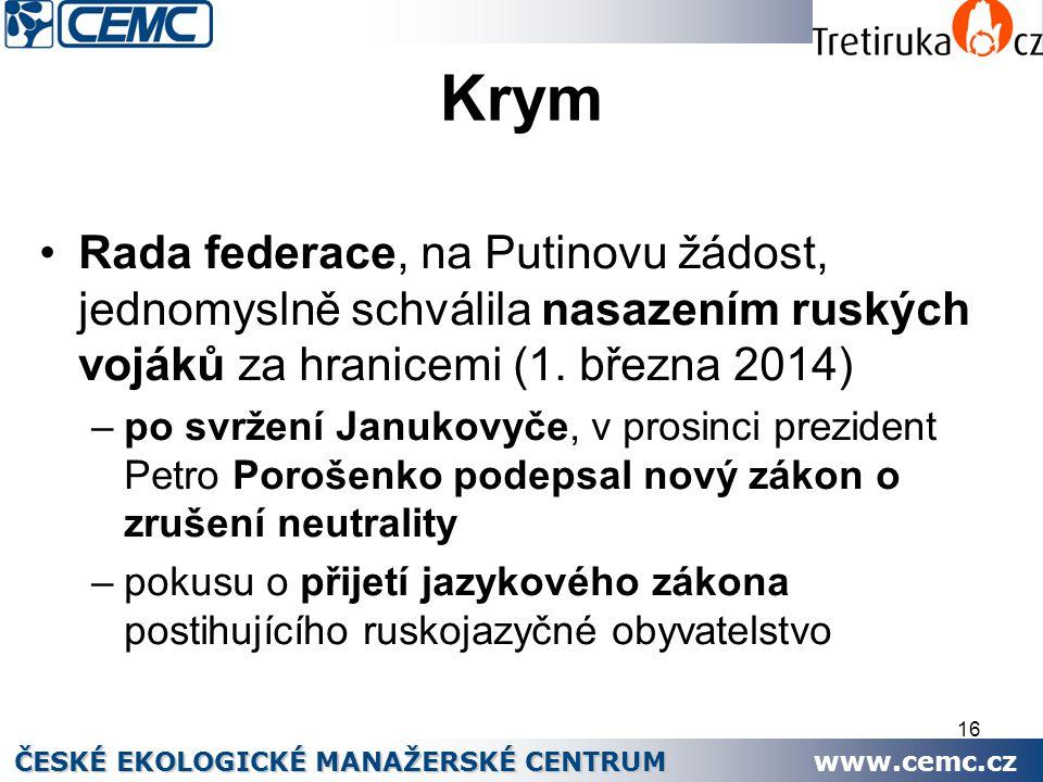16 Krym Rada federace, na Putinovu žádost, jednomyslně schválila nasazením ruských vojáků za hranicemi (1. března 2014) –po svržení Janukovyče, v pros