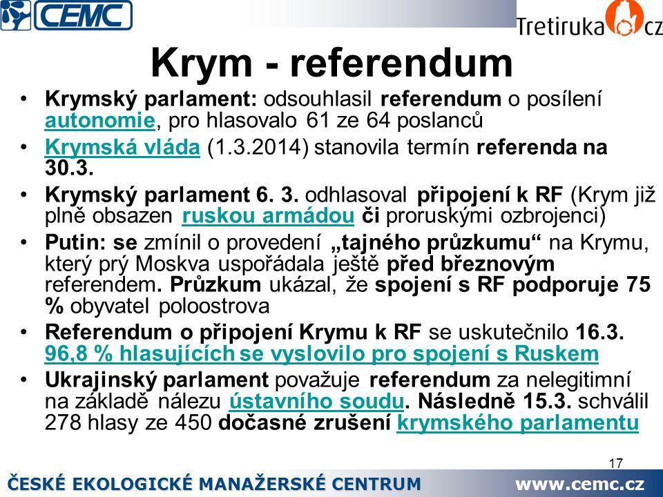17 Krym - referendum Krymský parlament: odsouhlasil referendum o posílení autonomie, pro hlasovalo 61 ze 64 poslanců autonomie Krymská vláda (1.3.2014